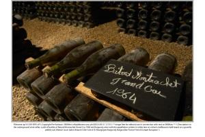 Gamla vinflaskor i en källare i Bourgogne